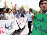 Students protesting against Facebook clearly showing that they take religion seriously