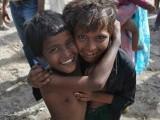 Children play in a makeshift tent city PHOTO: MEHEK ASAD