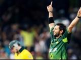 Shahid Afridi celebtaes after dismissing Australian batsman Steven Smith. PHOTO: AFP