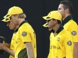 Australia's captain Ricky Ponting and teammates walk off the field after they lost their ICC Cricket World Cup group A match to Pakistan. PHOTO: REUTERS