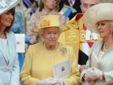 Britain's Queen Elizabeth II (C), Carole Middleton (L) and Camilla, Duchess of Cornwall come out of Westminster Abbey in London, following the wedding ceremony of Prince William and Kate, Duchess of Cambridge, on April 29, 2011. PHOTO: AFP