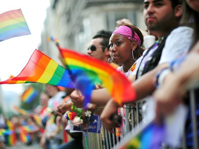 Spectators watch the annual Gay Pride Parade in New York June 27, 2010.