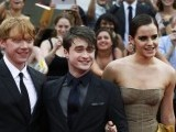 "Cast members (L-R) Rupert Grint, Daniel Radcliffe and Emma Watson arrive for the premiere of the film ""Harry Potter and the Deathly Hallows: Part 2"" in New York July. PHOTO: REUTERS"