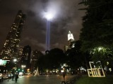 "The ""Tribute in Lights"" illuminates the sky over lower Manhattan days before the 10th anniversary of the attack on the World Trade Center in New York, September 8, 2011. The organisers of The ""Tribute in Lights"" tested the lights for several hours ahead of the anniversary.   REUTERS/Brendan McDermid (UNITED STATES - Tags: DISASTER ANNIVERSARY)"