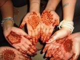 Pakistani culture is beautiful. This is a picture of me and my friends showing off the mendhi we put on for Eid.