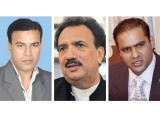 N-League's lawmaker Abid Sher Ali (right) tried to jump over his desk to hit Sajid Ahmad (left). Dr Rehman Malik rushed to the opposition benches to ensure that the parliamentarians do not hit each other.