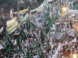 The anti-government rally lead by the Pakistan Muslim League –Nawaz (PML-N) on October 28 showcased a roaring crowd of 50,000 people. PHOTO: AFP