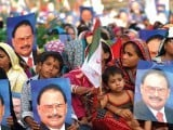 Tens of thousands of MQM supporters including members of the Hindu community attended the MQM rally. PHOTO: ARIF SOOMRO/EXPRES