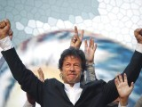 Imran khan took the stage at 7 PM and was greeted by a deafening roar. PHOTO: REUTERS