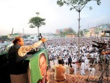 PML-N chief Nawaz Sharif addresses a gathering of supporters at an anti-government rally in Taxila. PHOTO: INP