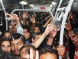 Lahore citizens crammed into an operational Metro Bus. PHOTO: ONLINE