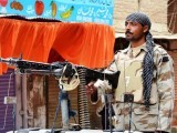 A security officer on duty in Larkana. PHOTO: ONLINE/FILE