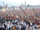Thousands gather for the PTI's Lahore rally. PHOTO : AFP