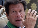 By repeatedly hammering away at the infamous 'four constituencies', Imran is pushing at a door that can very easily lead to a complete invalidation of last year's election results. PHOTO: AFP