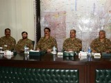 COAS General Raheel Sharif during his visit to Corps Headquarters Peshawar for briefing on operation ZARB-E-AZB on Monday. PHOTO: ISPR