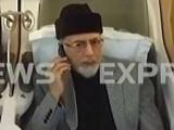 Express News screengrab of Tahirul Qadri in his plane.