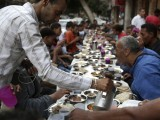 When the iftar is arranged at the mosque, we are served with a date, fruits, Moroccan soup and a bottle of water. The lesser we eat, the better it is. PHOTO: REUTERS