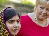 Malala Yousafzai speaks next to Norway's Prime Minister Erna Solberg (R), outside the prime minister's residence in Oslo June 14, 2014. PHOTO: REUTERS