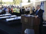 Israeli prime minister Benjamin Netanyahu eulogises yesterday at the joint funeral for the three Israeli teens who were abducted and killed in the occupied West Bank. PHOTO: REUTERS