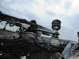 A man wearing military fatigues stands next to the wreckage of MH17 in Grabobo, Ukraine, July 17, 2014. PHOTO: AFP