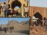 Different pictures of Prophet Younus's (AS) shrine in Iraq that was destroyed by the Islamic State.