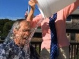 George W Bush takes the Ice Bucket Challenge which aims to raise money and awareness for ALS. PHOTO: REUTERS