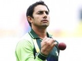 Pakistan's Saeed Ajmal practises in Sharjah. PHOTO: REUTERS