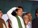 PTI chief Imran Khan addressing his supporters in Karachi on Sunday evening. PHOTO: FILE