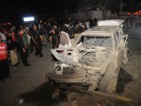 Vehicle of SSP Farooq Awan that was destroyed in the blast on Thursday evening. PHOTO: MOHAMMAD NOMAN/EXPRESS