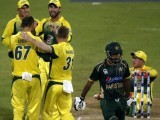 Australian players celebrates after dismissing Sarfaraz Ahmed. PHOTO: AFP