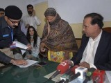 File photo of a police official taking the thumb print of Asia Bibi, a Pakistani Christian woman who has been sentenced to death for blasphemy, on an affidavit stating her innocence after she was visited by the Governor of the former Punjab Province Salman Taseer (R) at the central jail in Sheikhupura, located in Pakistan's Punjab Province November 20, 2010. PHOTO: REUTERS