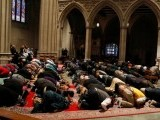 Muslims hold the first celebration of Friday prayers at the Washington National Cathedral on Friday. PHOTO: REUTERS