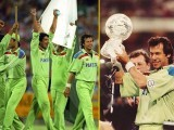 Pakistan lifts the 1992 World Cup trophy.