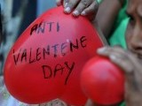 Indian women members of right-wing BJP blow heart-shaped balloons during a protest to denounce Valentine's Day in Hyderabad on February 14, 2012. PHOTO: AFP