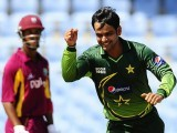 Mohammad Hafeez celebrates Devon Smith's wicket, West Indies v Pakistan, 2nd ODI, Gros Islet, April 25, 2011. Photo: AFP