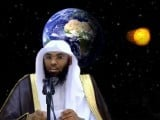 A video is going around on the internet in which a Saudi cleric explains that, in his opinion, the Earth is stationary (yes stationary) and does not spin on its axis.