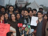 Civil society activists led by M Jibran Nasir lead a protest outside National Press Club on Saturday evening. PHOTO: INP