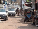 Rangers raid Nine-Zero, headquarters of MQM. PHOTO: MOHAMMAD SAQIB/EXPRESS