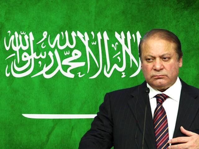 A Saudi official (R) welcomes Pakistani Prime Minister Nawaz Sharif (L) upon.