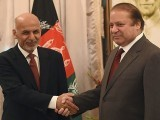 Afghan President Ashraf Ghani and Pakistani Prime Minister Nawaz Sharif shake hands at the Prime Minister House in Islamabad on November 15, 2014. PHOTO: AFP