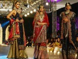 A model presents a creation by designer Zara Shahjahan during the Pakistan Fashion Design Council (PFDC) Bridal Week in Lahore on October 12, 2013. PHOTO: AFP