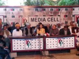 Sherry Rehman along with other leaders addressing a press ocnference at the Bilawal House on Monday, April 1, 2015. PHOTO: BILAWAL HOUSE MEDIA CELL