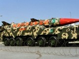 A long-range, nuclear-capable ballistic missile at a parade in Islamabad. PHOTO: REUTERS
