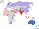 Map of the world's most and least racially tolerant countries. The blue countries are more tolerant while the red countries are less racially tolerant. PHOTO: WASHINGTON POST