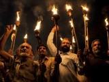 Pakistani labour union activists demand better wages. PHOTO: AFP