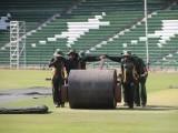 Preparation to host Zimbabwe are in full swing at the Gaddafi Stadium, Lahore. PHOTO: MALIK SHAFIQ/EXPRESS