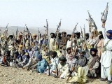 Baloch insurgents at a camp south of Quetta. PHOTO: AFP