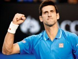 Novak Djokovic reacts during his match against Fernando Verdasco.  PHOTO: AFP