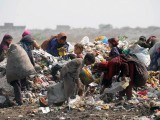 Scavengers search for recyclable items from a garbage dump on the outskirts of Lahore, Pakistan, June 5, 2012, on World Environment Day. PHOTO: AFP