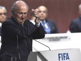 Sepp Blatter celebrates after his re-election as Fifa president.PHOTO: AFP
